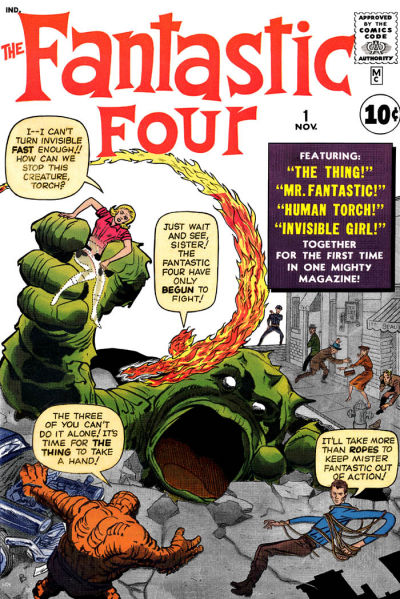 Jack Kirby's cover to Fantastic Four No. 1 (1961), courtesy GCD