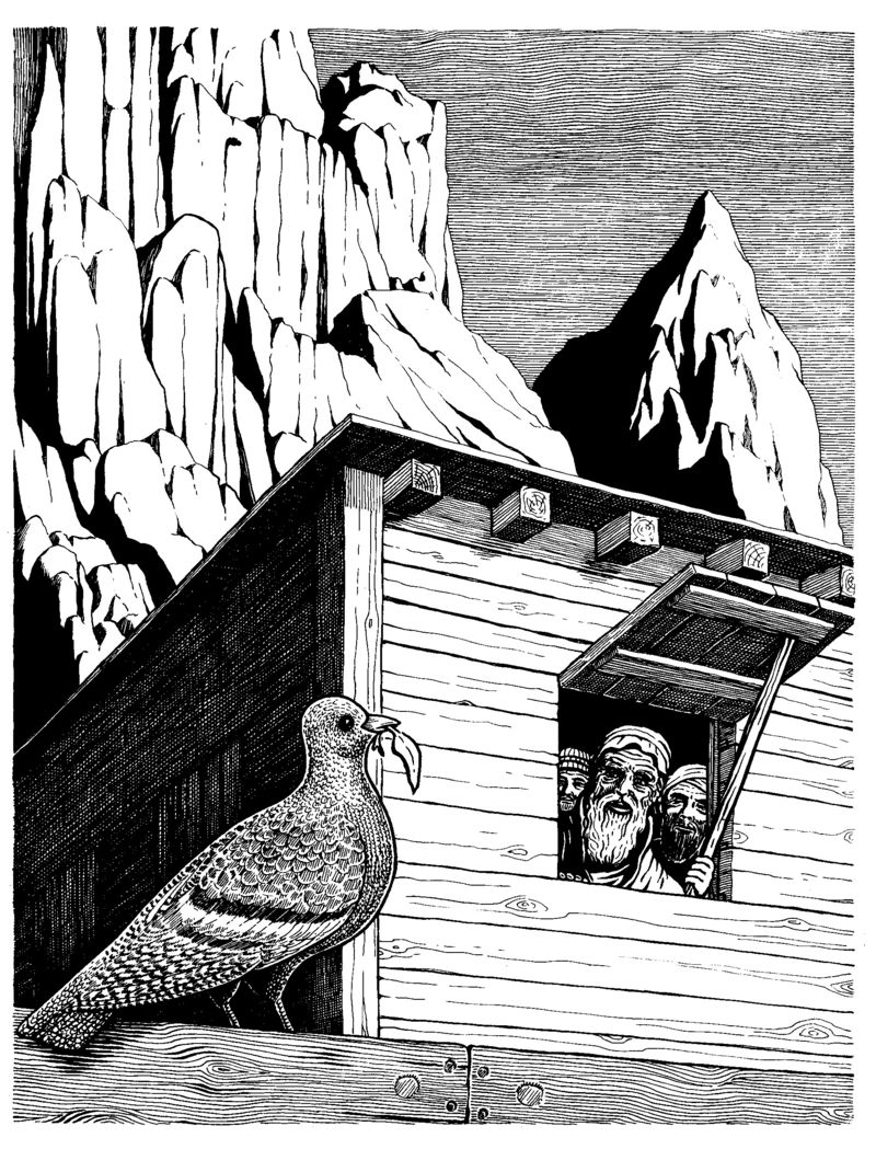 Noah and the Dove (Genesis, Ch. 8) by Basil Wolverton