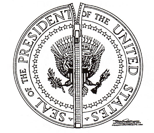 Presidential seal as zipper, by Paul Conrad